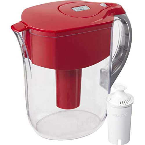 Brita Large 10 Cup Water Filter Pitcher with 1 Standard Filter, BPA Free – Grand, Red