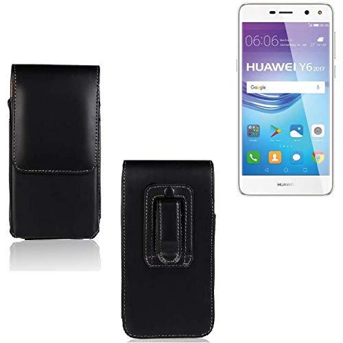 Für Huawei Y6 2017 Dual SIM Holster Gürtel Tasche Gürteltasche Schutzhülle Handy Tasche Schutz Hülle Handytasche Smartphone Hülle Seitentasche Vertikaltasche Etui Belt Bag Schwarz Für Huawei Y6