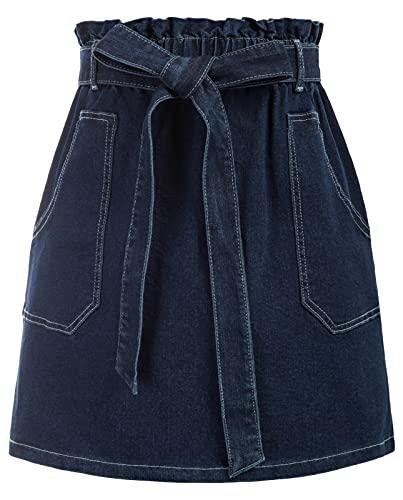 KANCY KOLE Women Chic Elastic Summer Skirt Solid Ruffle Retro Jean Denim Skirts Paper Bag Versatile Beach Skirt Blue XL