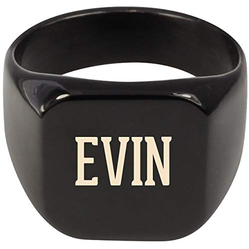 Molandra Products EVIN - Adult Last Name Stainless Steel Ring, Black, 11