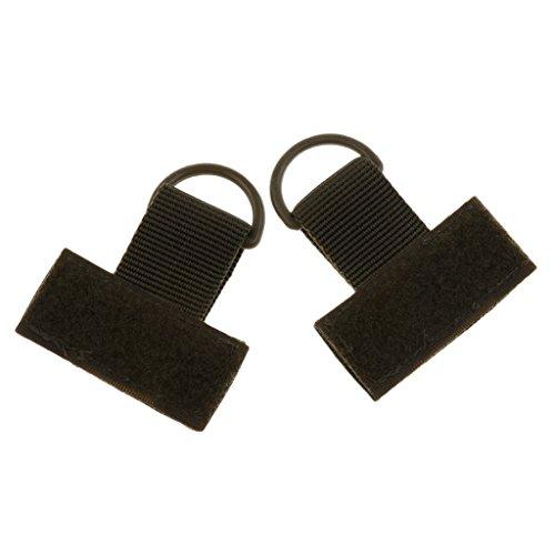 MagiDeal 2pcs Boucle D avec Sangle en Nylon Accessoire Sac à Dos Molle Extérieur T Crochet Porte-clé - Verte Armée, 70 * 25mm