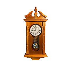 Wall Clocks: Grandfather Wood Wall Clock with Chime. Pendulum Wood Traditional Clock. Makes a Great Housewarming or Birthday Gift (Oak)