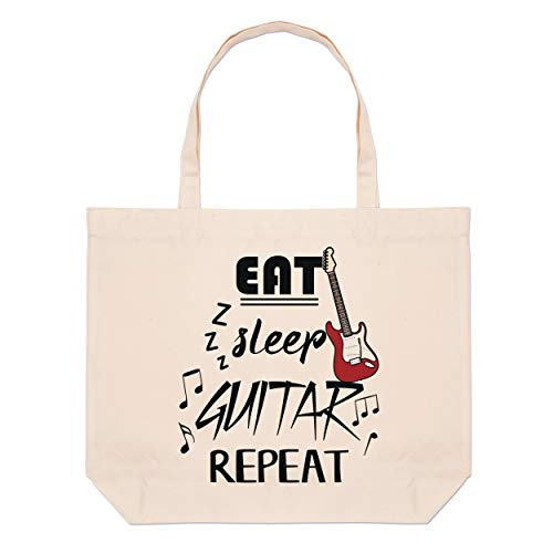 Eat Sleep Guitarra Repetición Grande Playa Bolsa Bolsa