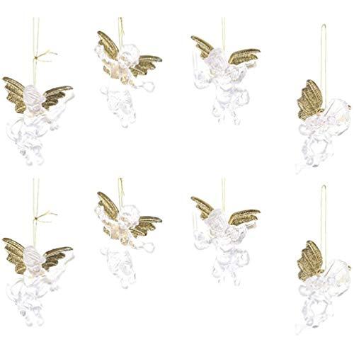 PRETYZOOM 2 bolsas / 8 unidades de adornos de ángel de Navidad transparentes con alas doradas brillantes para colgar en el árbol de Navidad, regalos promocionales para la tienda del hogar
