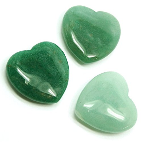 Luos Cultural Goods Green Aventurine Heart Shape Crystal - Balances, Protects Mental Well-Being, Spirit Stone, Jewelry, Home Decoration Gemstone, 1 Inch Size, 1 Piece