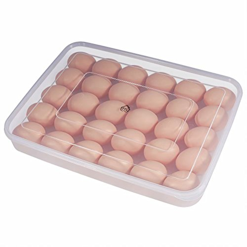77L Egg Container, 34 Refrigerator Eggs Container with Lid, Plastic Portable Stackable Large Egg Holder - Protect and Keep Egg Fresh, Clear Egg Tray Case