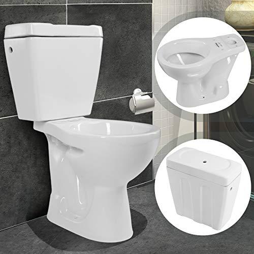 Stand WC Toilette mit Spülkasten - Abgang senkrecht, Komplettset, 2 teilig, bodenstehend, Keramik, Weiß - Tiefspüler für Badezimmer