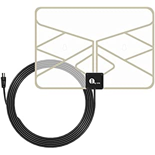 1byone 0.5 mm Paper Thin TV Aerial Amplified Indoor TV Antenna Transparent Window Aerial with 3 Meters High Performance Cable:Videomesum