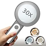 Magnifying Glasses, Yeeseok 30X Magnifying Glass for Reading Book with 18 LED Light Gift for Low Vision Seniors, Macular Degeneration, Kids Science (Gray+White)