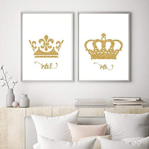 WTYBGDAN König und Königin Gold Krone Leinwand Drucken Mr & Mrs Love Poster Paar Schlafzimmer Dekoration Gemälde Wandkunst Bild Valentinstag Geschenk | 45x60cmx2Pcs / ohne Rahmen