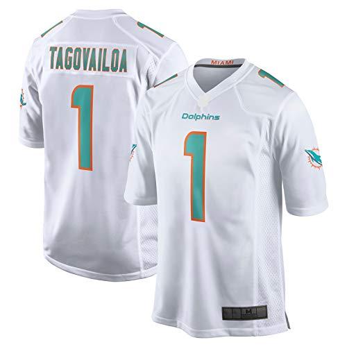 sdfsdf Herren Tua American Football Tagovailoa Fußballtrikot Miami Rugby Trikot Delfine Custom #1 2020 Entwurf erste Runde Plektrum Spiel Trikot – Weiß-L
