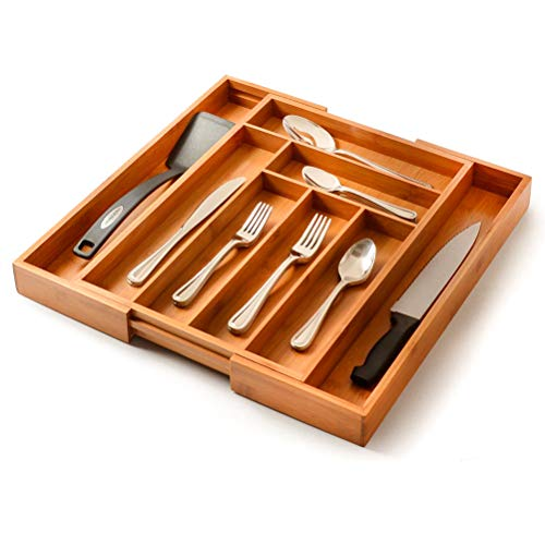 24,5/a 39/cm A 4/hasta 5/compartimentos ajustable en verde Organizador de cubiertos extensible variable para caj/ón de cocina De aprox