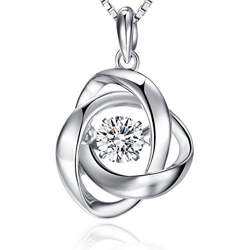 Rose Halskette 925 Sterling Silber Forever Love 18K Plattierung Geburtsstein Anhänger Halsketten für Damen Schmuck Geschenk mit 5A Kubik Zirkonia