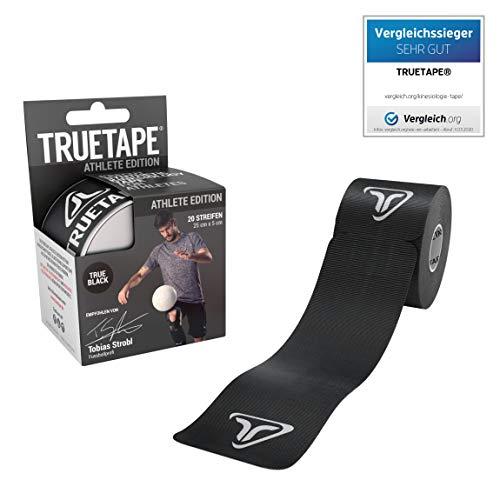 TRUETAPE® - Kinesiotape vorgeschnitten, Vergleichssieger Tapes, 20 Streifen pro Rolle, Wasserfest, inkl. +50 Anleitungen, Schwarz