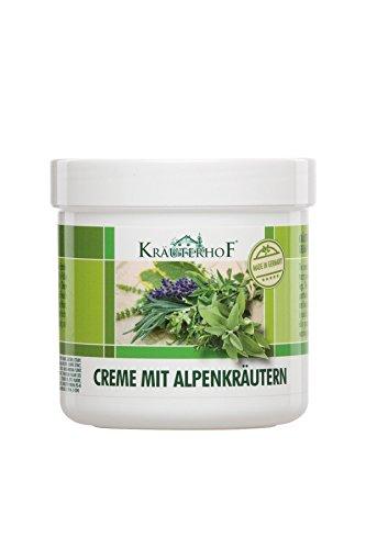 Crème aux herbes des Alpes. La crème Kräuterhof® au beurre de karité et aux extraits d'herbes est un soin rafraîchissant pour les pieds et les jambes