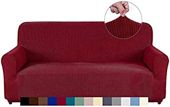 AUJOY Couch Cover Stretch 1-Piece Sofa Slipcover for 3 Cushion Couch Jacquard Spandex Fabric Furniture Protector with Anti-Slip Foams (Sofa, Wine Red)