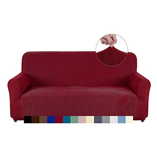 AUJOY Loveseat Cover Stretch 1-Piece Couch Slipcover for 2 Cushion Couch Jacquard Spandex Fabric Sofa Furniture Protector with Anti-Slip Foams (Loveseat, Wine Red) -  AUJOY HOME