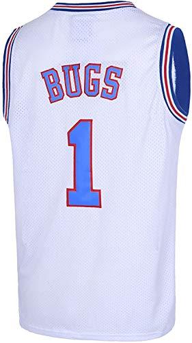 ALIBAICHN Bugs 1 Space Herren Movie Jersey Tune Basketball Jersey (S, White)