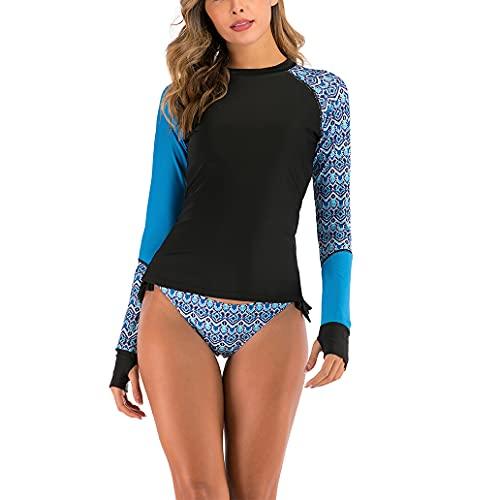 2 trajes de surf de manga larga resistentes a los rayos UV para mujeres y trajes de baño de secado rápido, adecuados para surf, buceo, esnórquel y natación trajes de baño de manga larga para mujeres
