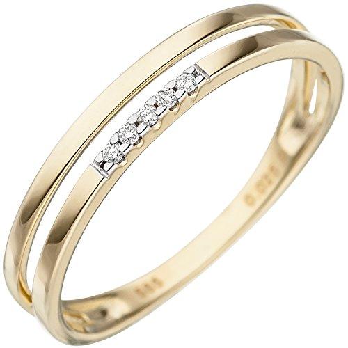 JOBO Damen Ring 585 Gold Gelbgold 5 Diamanten Brillanten Goldring Diamantring Größe 60