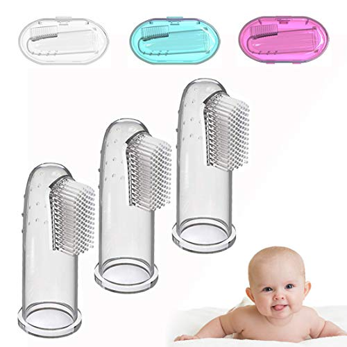 Baby Zahnbürste, zahnpflege baby, Fingerzahnbürste baby, Finger Toothbrush, Silikon Finger Mundpflege mit Aufbewahrungsboxen, für Zähneputzen, Kindermundpflege und Zahnfleischmassage - 3 Stück