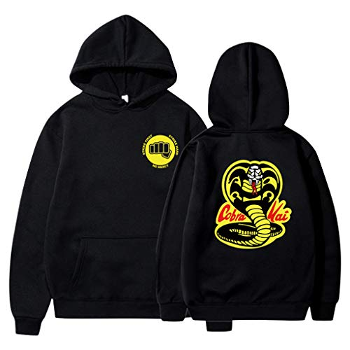 Cobra Kai Hoodie Damen, Herren Karate Kid Pullover Jungen Kinder Strike First Strike Hard No Mercy Sweatshirt Frauen Männer Miyagi Do Karate Pulli Langarm Kapuzenpullover Merchandise (F-Schwarz,XS)