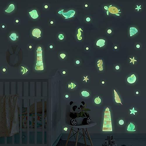 49 Pcs DIY Badezimmer Wandsticker,Cartoon Leuchtsticker,Bunte Wandaufkleber für Kinderzimmer,Fluoreszierend Wandaufkleber Maritimes,Tiere Wandtattoo für Jungen Schlafzimmer Babyzimmer Decke Wanddeko