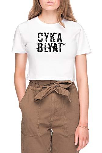 Cyka Blyat Dames Bijsnijden T-shirt Tee Wit Women's Crop T-shirt Tee White
