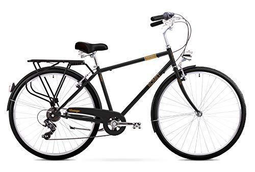 Romet VINTAGE M City Bike 28 Zoll Stadtfahrrad Fahrrad Citybike Cruiser Hollandrad Shimano 6 Gang 18 Zoll Stahl Rahmen schwarz