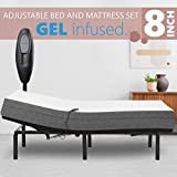 Adjustable Bed Frame with 8' Firm Gel Infused Memory Foam Mattress, Head Only Incline and Wired Remote No Tools Required Assembly (Twin XL)