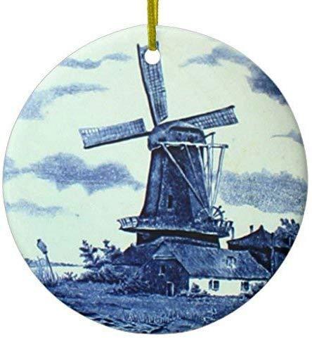 Mesllings Vintage Antieke Delfts Blauwe Tegel - Molen Keramisch Ornament Cirkel 3 Inch