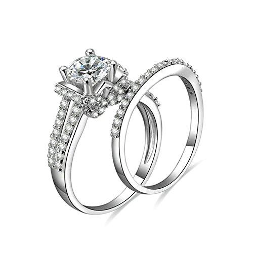 Beydodo Anelli Fidanzamento Argento 925 Anello Valentino Zircone con Rotonda Brillante Diamante Anelli Impilabili Taglia 10-27