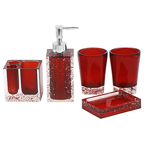 Bathroom Accessory Set with Soap Dish, Dispenser, Toothbrush Holder and Tumbler, Red Image