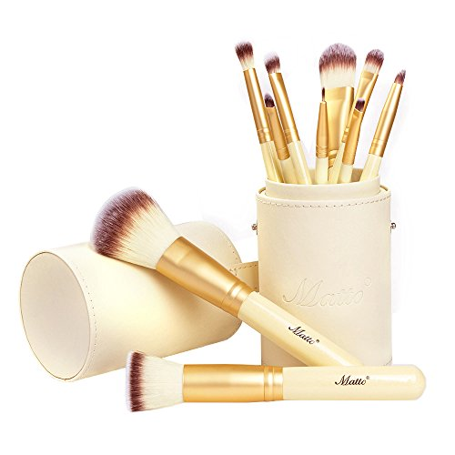 Matto Makeup Brushes 10Piece Golden Makeup Brush Set with Foundation Powder Mineral Eye Face Make Up Brushes Holder