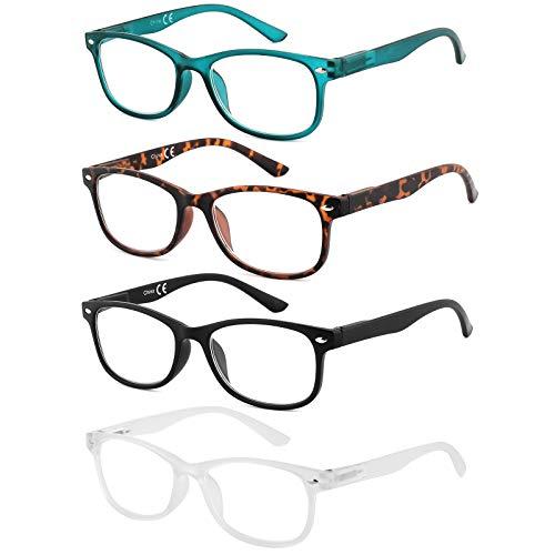 EFE Gafas de Lectura 4 Unidades Anti Luz Azul Gafas con Flexible Bisagra de Resorte Montura Cuadrada Vista de Cerca Hombre y Mujer (+2.50)