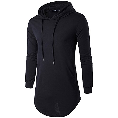 Keybur Mens Hipster Hip Hop Longline Classic Pullover Long Sleeve Hoodies Fashion Sweatshirt (L, Black)