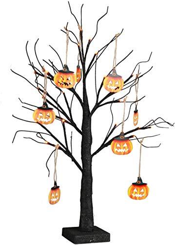 EAMBRITE Kleiner schwarzer Glitzer-Halloween-Baum mit 24 orangefarbenen Lichtern Batteriebetriebener beleuchteter gruseliger Kürbis-Ausstellungsbaum für Partydekoration (60 cm)