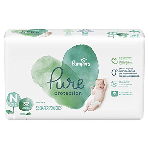 Diapers Newborn/Size N (10 lb), 32 Count - Pampers Pure Protection Disposable Baby Diapers, Hypoallergenic and Unscented Protection, Mega Pack (Old Version)