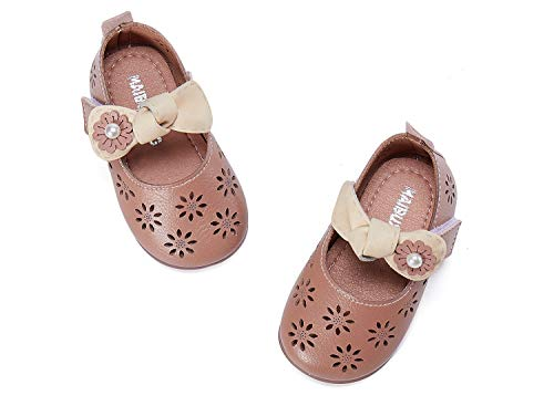 BMCiTYBM Baby Girls Mary Jane Shoes Soft Leather Non Slip Round Toe Walking Sneakers First Walkers Princess Flower Girl Dress Shoes for Wedding 6 12 18 24 Months (Infant/Toddler)