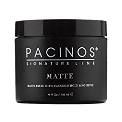 ALL-DAY HOLD: With a quality MEDIUM-FIRM HOLD, Pacinos Matte is up to the task of holding shape. Apply to damp or towel dry hair. No flakes like a pomade, no clumping like a clay. NO SHINE: It works well on short, medium, and some longer hairstyles, ...