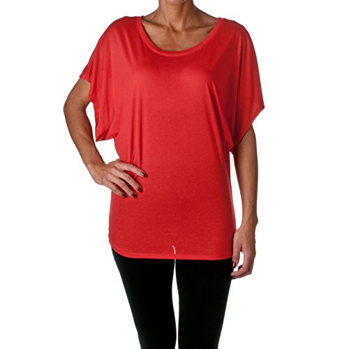 Bella 8821 Womens Flowy Draped Sleeve Dolman Tee - Red44; 2XL