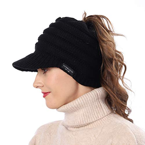 Jazmiu Women's BeanieTail Warm Knit Hat Messy High Bun Ponytail Visor Beanie Cap B085 (A-Black)
