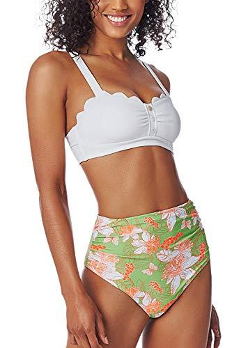 CUPSHE Conjunto de Bikini para Mujer Cintura Alta Estampado Floral Abertura Fruncido Traje de Baño de Dos Piezas, S