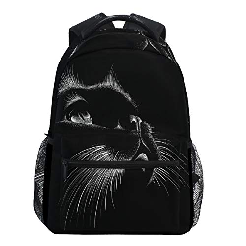 Oarencol Cute Print Style Cat Black Art Kitten Animal Backpacks Bookbags Daypack Travel School College Bag for Women Girls Men Boys