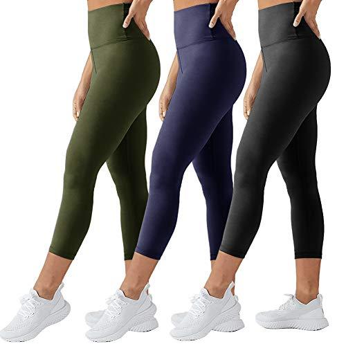 TNNZEET High Waisted Capri Leggings for Women - Tummy Control Soft Elastic Opaque Slim - Regular & Plus Size