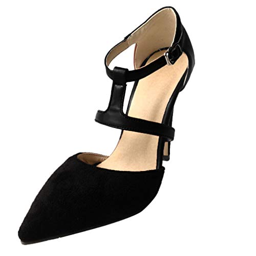 TWIFER Zapatillas Moda Sandalias Tacón Zapatos de tacón con Punta Cerrada para Mujer Escarpín Stiletto Correa de Tobillo Mujer Tacón de Aguja Alto Partido Marrón Negro
