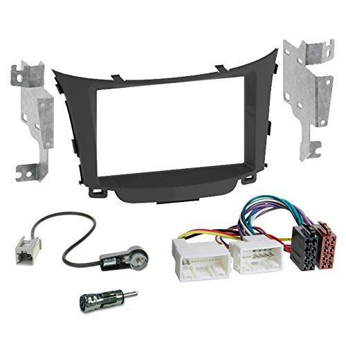 Carmedio Hyundai i30 GD ab 12 2-DIN Autoradio Einbauset in original Plug&Play Qualität mit Antennenadapter Radioanschlusskabel Zubehör und Radioblende Einbaurahmen Hochglanz-schwarz