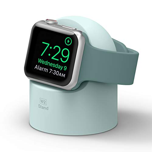 elago W2 Apple Watch Ladestation Ständer Kompatibel mit Apple Watch Serie 5 (2019) / Serie 4/3, 2, 1 / 44mm / 42mm / 40mm / 38mm - Nachtmodus, Kabelmanagement, Kratzfestes Silikon (Mint)