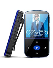 Mini Reproductor MP3 de 32 GB, con Bluetooth, Reproductor de Música Portátil con Clip, Podómetro Deportivo, Radio FM, Grabadora de Voz, Ranura Micro SD, Ampliable hasta 64 GB, Ideal para Deportes