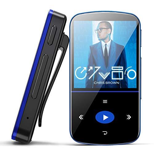 Mibao 32 GB Bluetooth MP3 Player mit Clip, Bluetooth MP3 mit Touchscreen mit Schrittzähler/FM-Radio/Sprachrekorder/Kalender/E-Book, Mini-MP3 für Sport/Laufen, unterstützt bis zu 128 GB Speicher